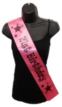 Hot Pink Happy 21st Birthday Party Satin Ribbon Sash - Age 21 Black Stars