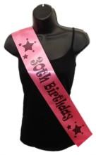 Hot Pink Happy 30th Birthday Party Satin Ribbon Sash - Age 30 Black Stars