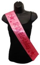 Hot Pink Happy 50th Birthday Party Satin Ribbon Sash - Age 50 Pink Stars