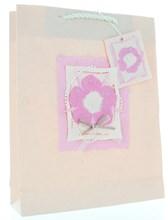 "Medium Female Gift Bag -Pink Handmade Paper Mache Bag with Flower & Pearls 10x8"""