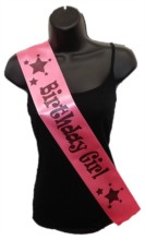 Hot Pink Birthday Girl Party Satin Ribbon Sash - Black Stars