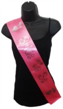 Hot Pink Bride To Be Hen Party Girls Night Satin Ribbon Sash - Silver Hearts