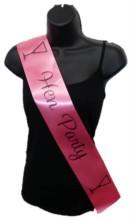 Hot Pink Hen Party Girls Night Satin Ribbon Sash - Black Cocktail Glasses