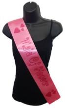 Hot Pink Maid Of Honour Hen Party Girls Night Satin Ribbon Sash - Pink Hearts