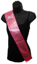 Hot Pink Maid Of Honour Hen Party Girls Night Satin Ribbon Sash - Silver Hearts