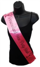 Hot Pink Personalised Hen Party Girl Night Out Satin Ribbon Sash - Black Glasses