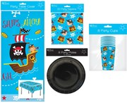 Pirate Party Tableware Pack for 8 People Table cover, Napkins, Plates & Cups