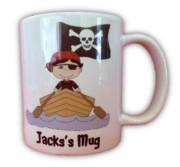 Children's Personalised Pirate Mug With Gift Box - Any Name, Birthday, Xmas