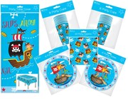 Pirate Party Tableware Pack for 16 People, Table Cover, Napkins, Cups & Plates