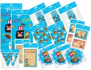 Pirate Party Pack 24 - Table Cover Napkins Cups Plates Invites Thank You Banner