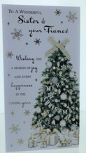 """Sister & Fiance Christmas Card - Xmas Tree With Gifts Gold Bow & Foil  9 x 4.75"""""""