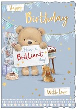 """Open Male Birthday Card - Bear & Dog with Chair Gifts Stars & Foil 7.5"""" x 5.25"""""""