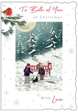 """Both of You Christmas Card- Couple with Dog by Red Bench and Glitter 7.5x5.25"""""""