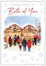 """Both Of You Christmas Card - People at Christmas Market with Glitter 7.75x5.25"""""""