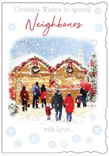 "Special Neighbours Christmas Card - Christmas Market With Glitter  7.5""x5.25"""