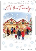 """To All The Family Christmas Card - Christmas Market with Glitter 7.75x5.25"""""""