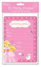 Pack Of 12 Children's Party Invites & Envelopes - Girl's Princess Invitations