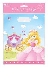 Pack of 12 Childrens Birthday Party Plastic Loot Bags - Girl's Princess