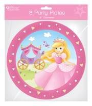 "Pack of 8 Childrens Birthday Party 9"" Paper Plates - Girl's Princess"