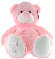 "16"" Pink Jenny Baby Girl Teddy Bear Soft Toy Plush Wearing Sheer Pink Ribbon"