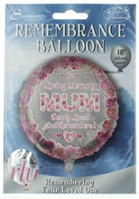 """Loving Memory 18"""" Foil Remembrance Balloon (not inflated) - Round Mum"""