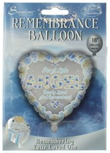 """Loving Memory 18"""" Foil Remembrance Balloon not inflated- Little Angel Blue Heart"""