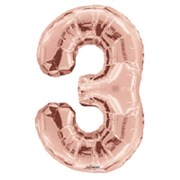 """Large Rose Gold Metallic Number 3 Foil Helium Balloon 34""""/87cm (Not Inflated)"""