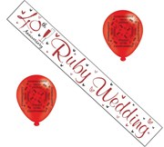 Ruby 40th Wedding Anniversary Party Pack - 40th Anniversary Banner & Balloons