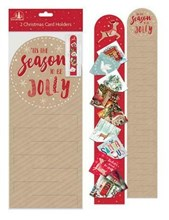 Set Of 2 Christmas Card Holders - Brown Nordic Reindeer Design