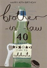 """ICG Brother-in-Law 40th Birthday Card - Beer & Bottle Opener with Gold Foil 9x6"""""""