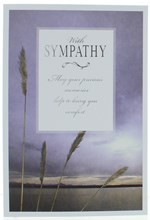 """With Sympathy Condolence Card - Sunset Sky with Silver Foiled Writing 7.75x5.25"""""""