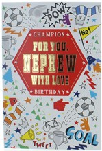 """Nephew Birthday Card - Bright Icons with Foiled Writing 7.75x5.25"""""""