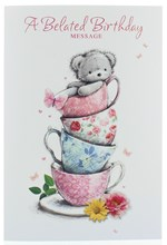 """Belated Birthday Card - Bear Sat in Stacked Tea Cup with Glitter 7.5"""" x 5.25"""""""