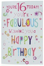 """Age 16 Girl Birthday Card - Multi Coloured Writing With  Flowers 7.5"""" x 5.25"""""""