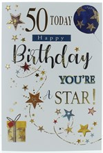 """Age 50 Male Birthday Card - Blue Balloon Brown Stars and Gold Foil 7.75"""" x 5.25"""""""