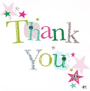 36 Multi Pack Thank You Cards & Envelopes - Multicoloured Text
