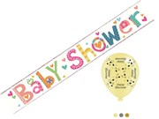 Unisex Baby Shower Foil Party Banner & Pack of 8 Balloons - Baby Shower