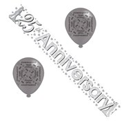 Silver 25th Wedding Anniversary Party Pack - Foil Banner and Silver Balloons