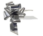 Large Metallic Silver Pull Bow - Ideal As Gift Wrap, Florist, Wedding Bow