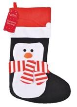 "Children's 20"" Felt Christmas Stocking - Cute Penguin Wearing Santa Hat & Scarf"
