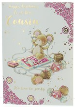 """Cousin Birthday Card - Mouse Listening to Music with Gold Foil 7.5x5.25"""""""