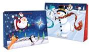 """Set 2 Landscape Jumbo Christmas Gift Bags Santa Sack 22x16"""" Cute Santa Snowman"""