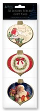 Pack 30 Luxury Foiled Christmas Gift Tags Metallic Thread - Traditional Bauble's