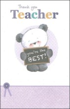 """Thank You Teacher Greetings Card - Panda & You're The Best Sign 8.25"""" x 5.25"""""""
