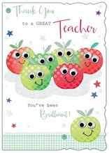"""Thank You Teacher Greetings Card - Red & Green Apples With Stars 7.5"""" x 5.25"""""""