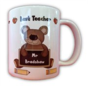 Thank You Teacher Personalised White 11oz Mug - Any Name, Gift Comes With Box