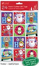Pack Of 24 Juvenile Hand Crafted Christmas Peel & Stick Gift Tags - 6 Designs