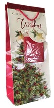 Pack of 12 Christmas Bottle Gift Bags Rope Handle Tag - Glitter Xmas Tree