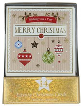 Pack of 14 Cute Square Christmas Cards - Baubles Stockings Snowflakes & Foil