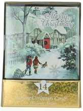 Pack of 14 Square Glitter Scenic Christmas Cards - Couple with Dog in Street